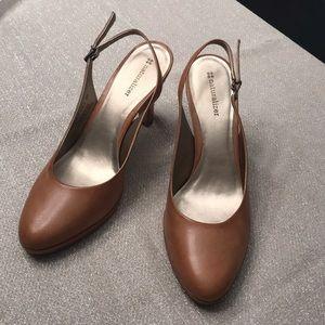 Naturalizer size 9 M heels leather tan sling back